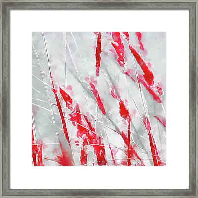 Winter Moods 1 - Cardinal Red And Icy Gray Nature Abstract Framed Print