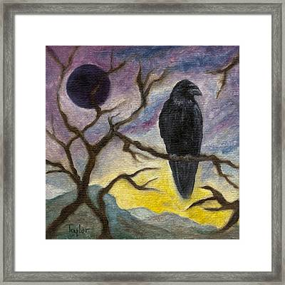 Winter Moon Raven Framed Print