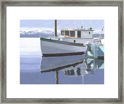 Winter Moorage Framed Print by Gary Giacomelli