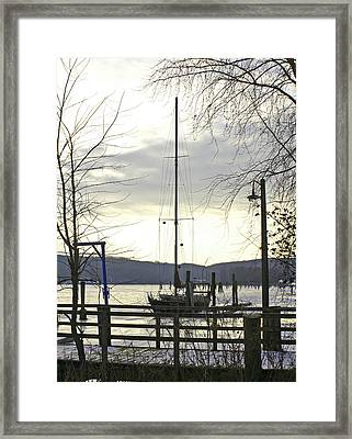 Winter Mooring Framed Print by Gerald Mitchell
