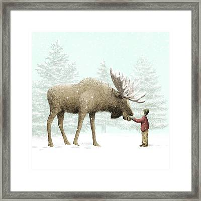 Winter Moose Framed Print by Eric Fan