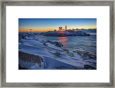 Winter Morning At Cape Neddick Framed Print by Rick Berk