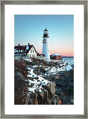 Winter Morning At Portland Head Lighthouse Framed Print