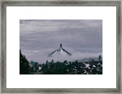 Winter Morning Fog Envelops Chimney Rock Framed Print