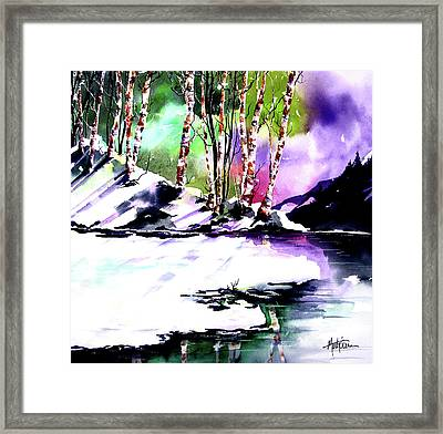 Framed Print featuring the painting Winter Mountain by Marti Green
