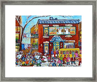 Winter Neighborhood Fun Fairmount Bagel Montreal Scene Hockey Art Montreal Memories Canadian Art   Framed Print