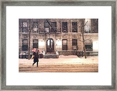 Winter - New York City - Snow Falling Framed Print by Vivienne Gucwa