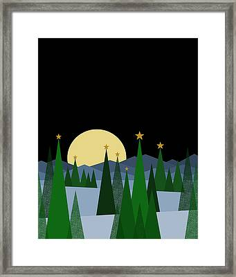 Winter Night Full Moon Framed Print by Val Arie