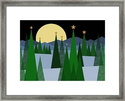 Winter Night Moon Framed Print