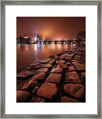 Winter Night Near Charles Bridge In Prague, Czech Republic Framed Print
