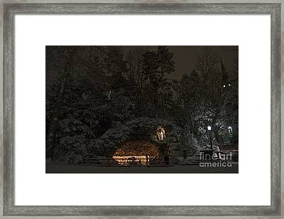 Winter Night Prayer At Notre Dame Grotto Framed Print