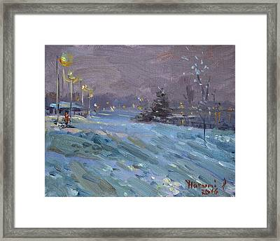 Winter Nocturne By Niagara River Framed Print by Ylli Haruni