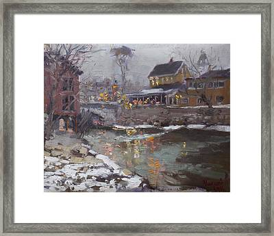 Winter Nocturne In Williamsville Framed Print