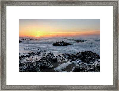 Winter Ocean At Sunset Framed Print by Masako Metz