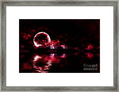 Winter Ocean Moonrise Framed Print