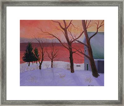 Winter Ocean Sunrise Framed Print