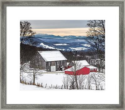 Winter On The Farm On The Hill Framed Print