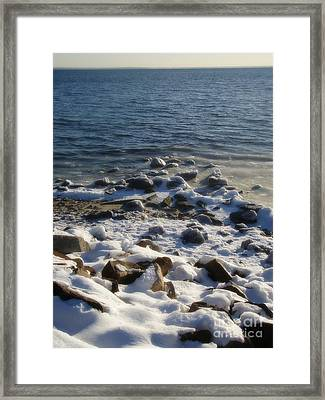 Framed Print featuring the photograph Winter On The Long Island Sound by Kristine Nora