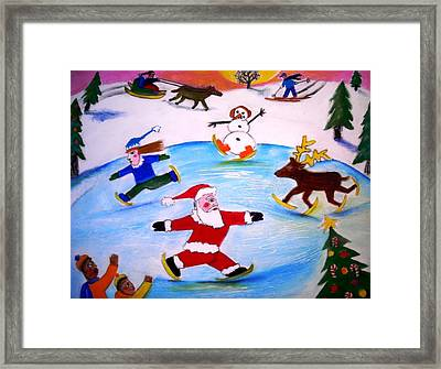 Winter Party With Santa And Rudolph Framed Print by Ward Smith