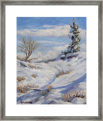 Winter Path Framed Print by Debra Mickelson