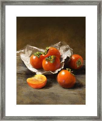 Winter Persimmons Framed Print
