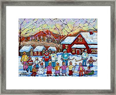 Winter Playground Painting By Canadian Hockey Art Specialist Carole Spandau Skating Sledding Snowman Framed Print by Carole Spandau