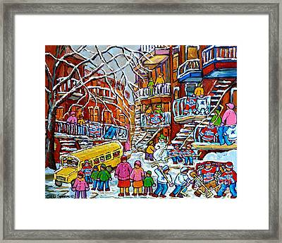 Winter Playground Staircase Scene Balconville Hockey Sweaters Wash Day Montreal Memories C Spandau Framed Print by Carole Spandau