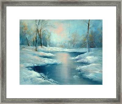 Winter Pond Framed Print by Sally Seago
