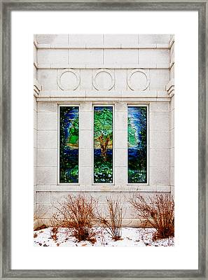 Winter Quarters Temple Tree Of Life Stained Glass Window Details Framed Print