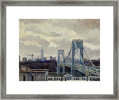 Winter Rain George Washington Bridge Framed Print by Thor Wickstrom