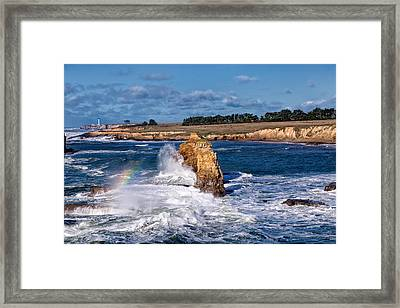 Winter Rainbows In The Surf Framed Print