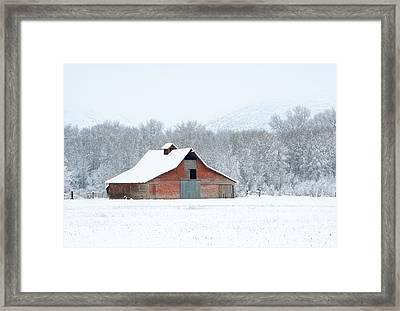 Winter Red Barn Framed Print by Mike Dawson