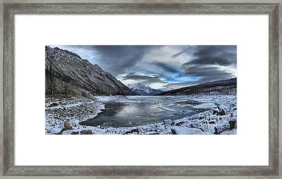 Winter Reflections At Medicine Lake Framed Print by Adam Jewell