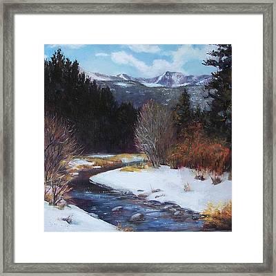 Winter River Bend Framed Print by Donna Munsch