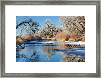 Winter River In Colorado Framed Print