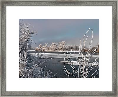 Winter River Light Framed Print by Leland D Howard