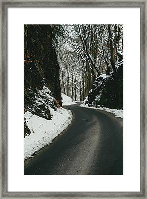 Winter Road And Snow Framed Print