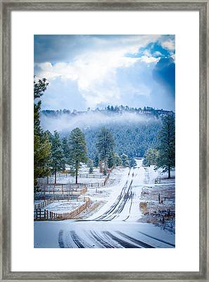 Framed Print featuring the photograph Winter Road by Jason Smith