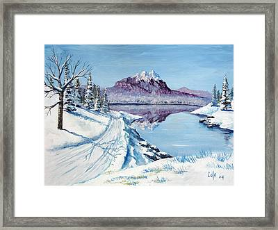 Winter Road Framed Print by Larry Cole