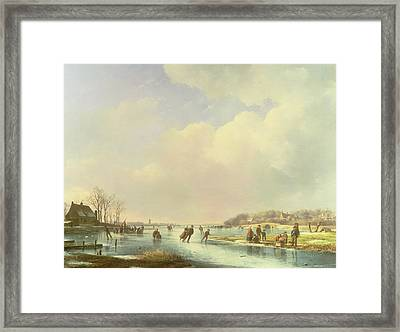 Winter Scene Framed Print by Andreas Schelfhout