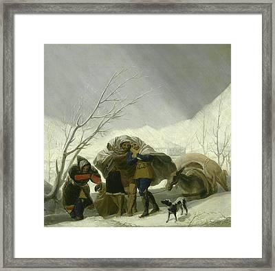 Winter Scene Framed Print by Goya