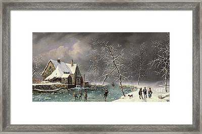 Winter Scene Framed Print by Louis Claude Mallebranche