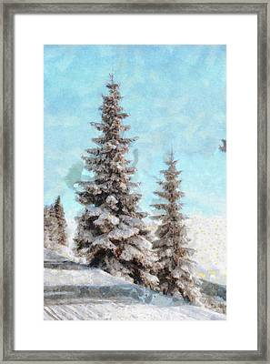 Winter Scene - Mountain Pine Tree Landscape Painting Framed Print by Wall Art Prints