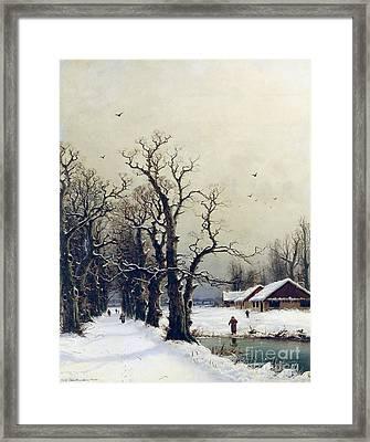 Winter Scene Framed Print by Nils Hans Christiansen
