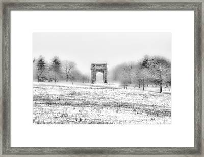 Winter Scene - Valley Forge Arch In Black And White Framed Print by Bill Cannon