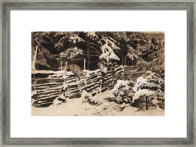 Winter Scene With Hunter And Fox By Fence Framed Print