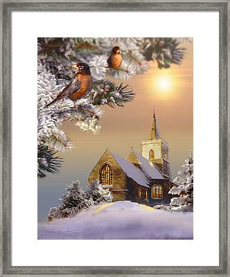 Winter Scene With Robins And Church   Framed Print