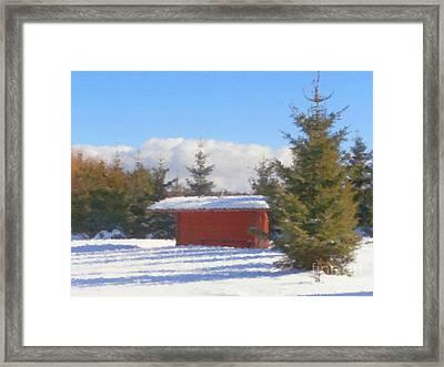 Winter Shack Framed Print