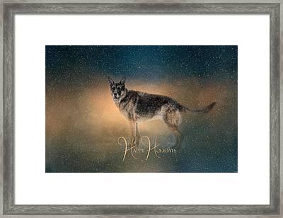 Winter Shepherd - Happy Holidays Framed Print