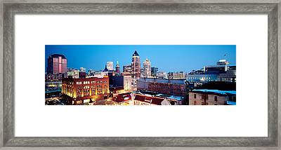 Winter Skyline At Night, Milwaukee Framed Print by Panoramic Images